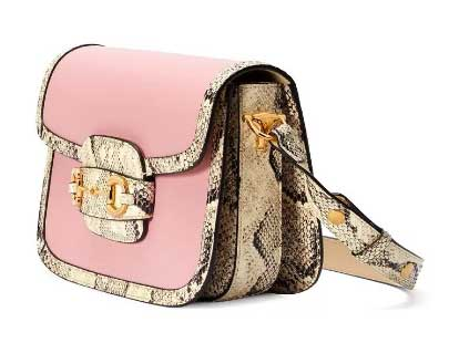 Gucci horse buckle 1955 series pale pink python leather bag